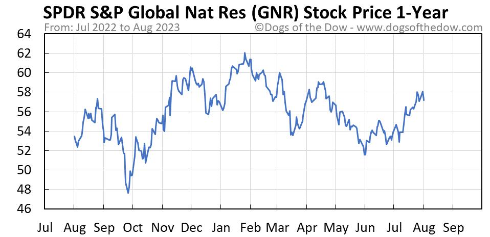 GNR 1-year stock price chart