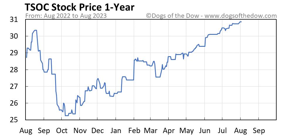 TSOC 1-year stock price chart