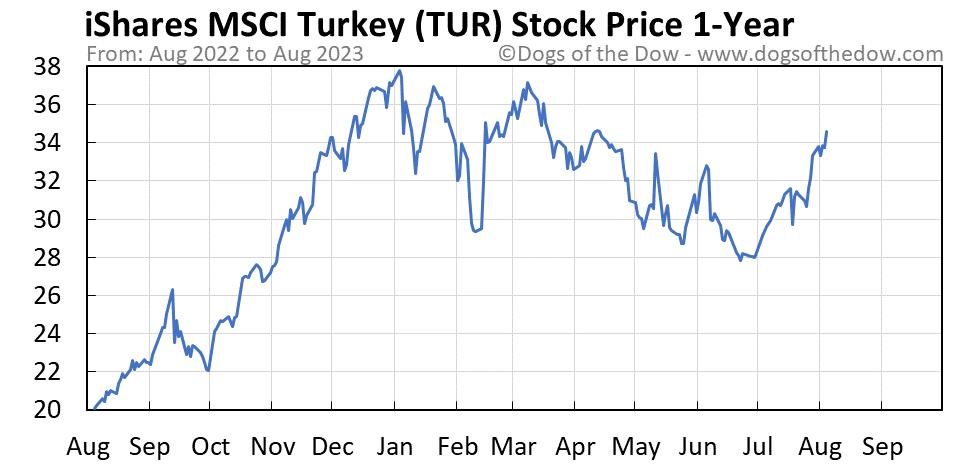TUR 1-year stock price chart